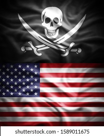 Pirate and American flag of silk -3D illustration
