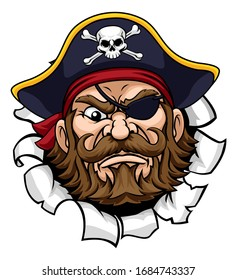 A pirate cartoon character captain mascot face with skull and crossed bones on his tricorne hat breaking or tearing through the background