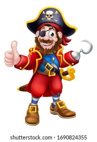 Pirate cartoon character captain with skull and crossed bones on his hat, eye patch and hook. Giving a thumbs up.