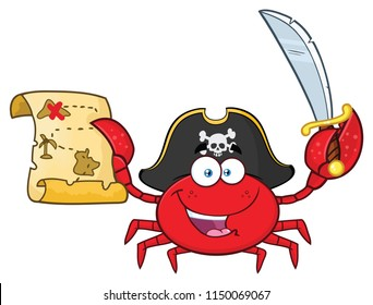 Pirate Crab Cartoon Mascot Character Holding A Treasure Map And Sword. Raster Illustration Isolated On White Background