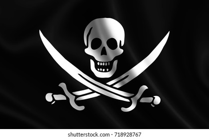 Pirate flag. Image of a pirate flag on a white background. ( Jolly roger )