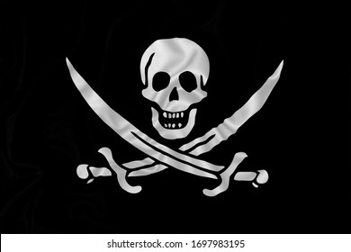 Pirate flag Jolly Roger in silk fabric texture. Calico Jack Rackham historical model.