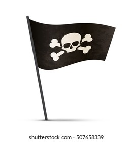Pirate flag on a pole with shadow isolated on white