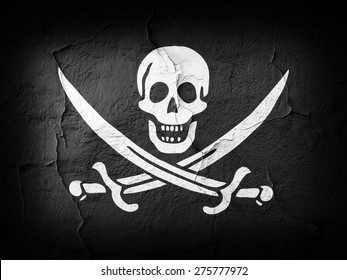 Pirate  flag and wall background