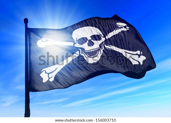 Pirate flag waving on the wind