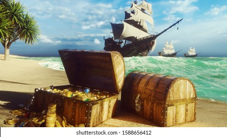 Pirate frigates docked near a tropical island. Pirate island and treasure chests. Sand, sea, sky, clouds, palm trees and clear day. 3D rendering
