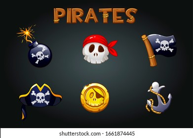 Pirate icons and symbols. Bomb, anchor, skull, flag signs and wooden logo. Similar JPG copy