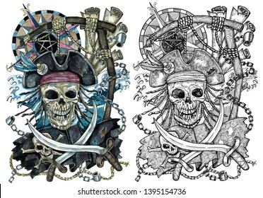 Pirate Jolly Roger skull with compass and rope for gallows.  Watercolor graphic illustration with adventure concept in vintage style for tattoo, logo, old transportation background