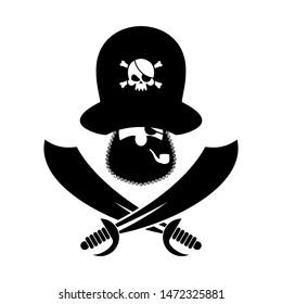 Pirate logo. head of buccaneer and sabers. pirate symbol.