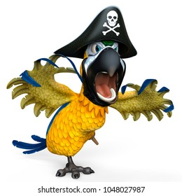 pirate parrot cartoon 3d illustration