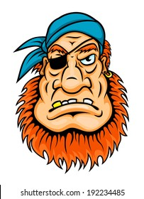 Pirate with red beard in cartoon style for mascot design. Vector version also available in gallery
