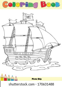 Pirate Ship Coloring Book Page. Raster Illustration