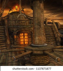 Pirate ship deck with stairs to the galley and door to the captains cabin, 3d render