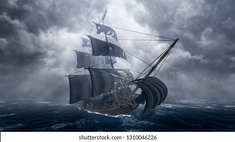 Pirate Ship on Stormy Sea 3D Rendering