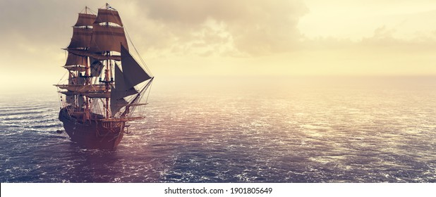 Pirate ship sailing on the ocean at sunset. Vintage cruise. 3D illustration