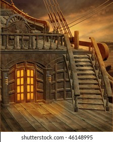 Pirate ship scenery with stairs