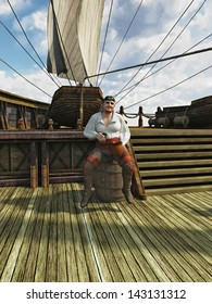 Pirate sitting on a barrel drinking grog on board the deck of a sailing ship, 3d digitally rendered illustration