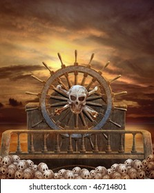 Pirate steering wheel with skulls