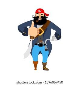 Pirate thumbs up. filibuster winks emoji. buccaneer cheerful