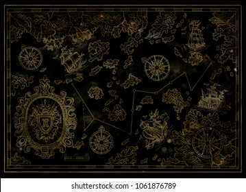 Pirate treasures map with antique sailboats, baroque banner and compasses on black. Decorative antique nautical chart, collage with hand drawn illustration