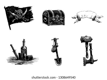 Pirate weapons set. Digital drawing. Pirate flag, treasure chest, warhammer and bottle of rum.
