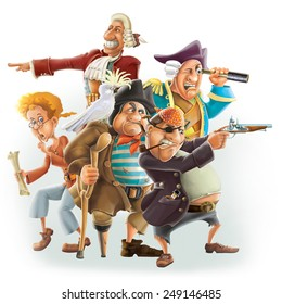 Pirates cartoon characters from Treasure Island