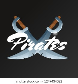 Pirates game element with crossed swords. Confrontation versus sign, fight opposition concept, pirate sabre illustration. Cartoon medieval weapon for computer game design.
