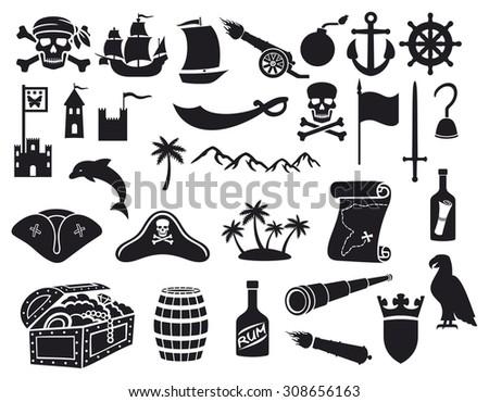 pirates icons set sabre
