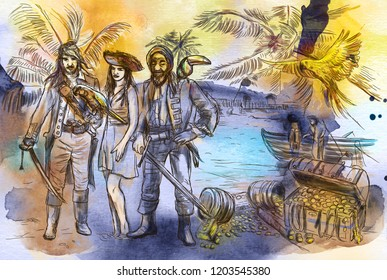 Pirates of Jamaica. An hand drawn illustration. Freehand drawing, painting.