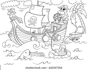 Pirates of the sea on merchant ships and seascape coloring illustration. Zentangle style pirate ship. Black-and-white line of the sea, animals, fish, ostrovbpopugay, shark and people