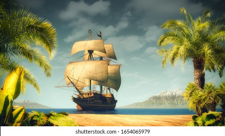 Pirates ship near the tropical island with palms. Illustration, 3D render parts included.