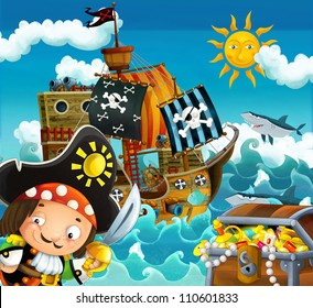 The pirates and the ships - bright sky - illustration for the children 2