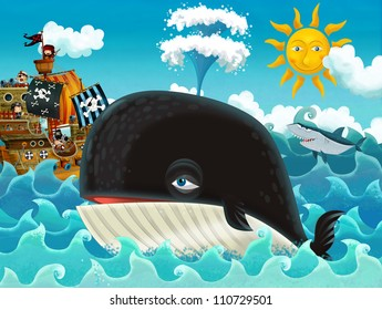 The pirates and the ships - bright sky - illustration for the children main theme whale 3
