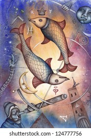 Pisces. Zodiac sign, symbol in watercolor style. Part of a set ot 12. Illustration by Eugene Ivanov.