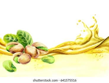 Pistachio oil wave, watercolor