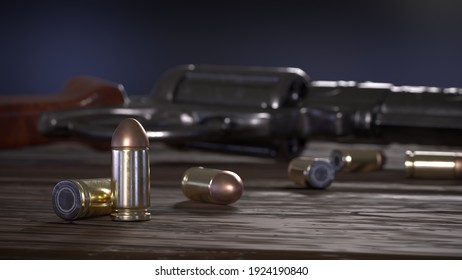 pistol and bullets on old planks ground 3D rendered image