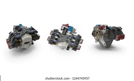 Piston Aircraft Engine. 3D Illustration.
