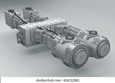 Piston compressor, 3D illustration