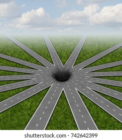 Pit hole or pithole unavoidable road of life concept and choices or strategies symbol represented by a network of roads and highways merging to a centre bottomless crater or gap as a 3D render.