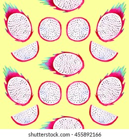Pitahaya Pitaya Dragon fruit watercolor seamless pattern on yellow background