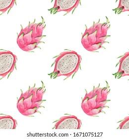 Pitaya seamless pattern. Watercolor pink halves of dragon fruit repeating wallpaper.