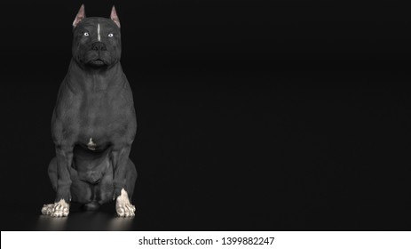 Pitbull dog sitting on ground frontal view 3d rendering