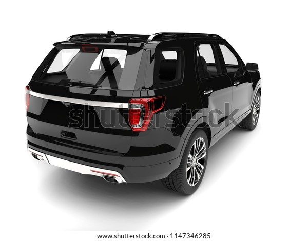 Pitch black modern SUV - tail view - 3D Illustration