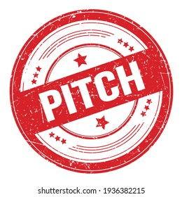 PITCH text on red round grungy texture stamp.