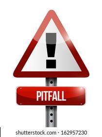 pitfall warning road sign illustration design over a white background