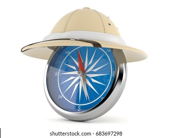 Pith helmet with compass isolated on white background. 3d illustration