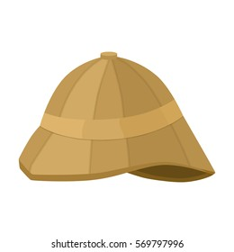 Pith helmet icon in cartoon style isolated on white background. England country symbol stock bitmap, rastr illustration.