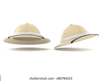 Pith helmet isolated on white background. 3d illustration