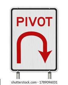 Pivot road sign with U-turn arrow icon isolated on white 3D Illustration