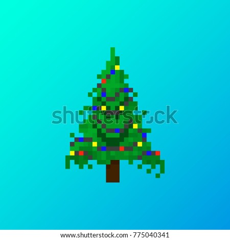 pixel angry christmas tree with garland for games and applications